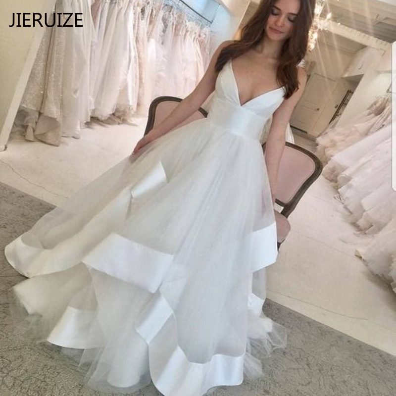 JIERUIZE White Tulle Satin Wedding Dresses Deep V-neck Backless Bride Dresses Sexy Wedding Gowns Robe De Mariee