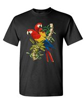 Graphic Make A Tee Shirt SCARLET MACAWS Avian Parrot Cockatoo Birds Mens Cotton T Shirt Stretch
