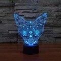 3D кошка ночник настольная лампа Крытый сенсорный сенсор Светодиодная лампа ночное освещение тусклый 7 цветов меняющий светодиодный ночник ...