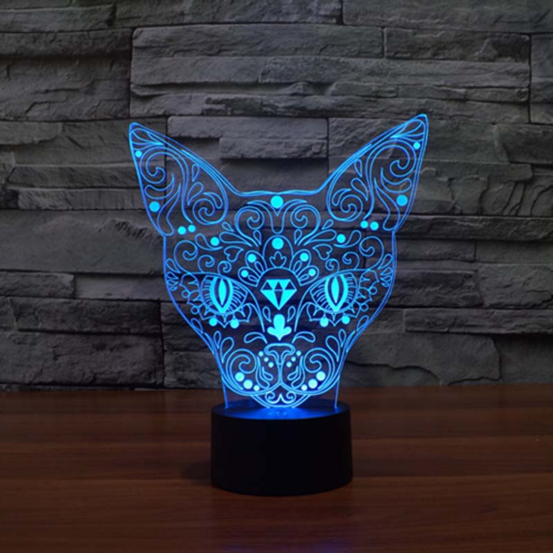 3D Cat Night Light Table lamp Indoor Touch Sensor Led Lamp Night Lighting DIM 7 Color Changing led night light outlet aircraft 3d night light led remote touch airplane table lamp fighter 3d lamp 7 color changing aa 3 batteries usb indoor lamp