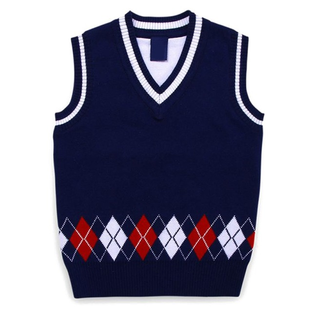 Autumn/Spring Casual Kids Boys Girls Outerwear Sweater Vest Argyle V Neck Sleeveless Pullover Knit School Waistcoat 2-7T 2