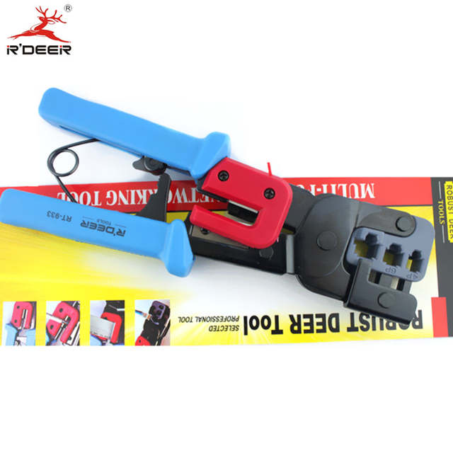 US $24 67 47% OFF|RDEER 3 in 1 Crimping Pliers 220mm Wire Stripper Network  Ratchet Press Pliers Crimping Tool Cable Cutter Multitool Hand Tools-in