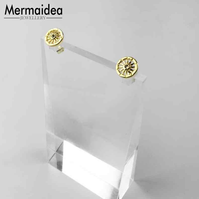 Złoty kolor słońce stadniny kolczyki cyrkonia Trendy biżuteria 925 srebro modny prezent dla kobiet mężczyzn Lover 2019 nowy