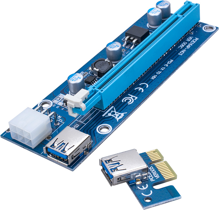 PCI-E PCI E Express 1X to 16X graphics card Riser Card USB 3.0 Extender Cable with Power Supply for Bitcoin Litecoin Miner