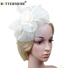 BUTTERMERE Bride Hat Ladies Fedoras White Flower Net Wedding Women Elegant Caps Bridal Fascinator Tea Party Hats Pink 2019