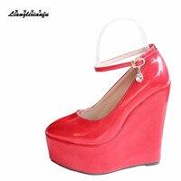 LLXF/туфли на высоком каблуке 15 см из лакированной кожи с пряжкой женские милые туфли-лодочки на танкетке на шпильке маленькие размеры: 30, 31, 32, ...