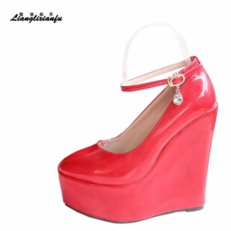 LLXF Patent Leather Buckle 15cm High-heeled Shoes Woman Stiletto Female Sweet Wedges Pumps Small Yards:30 31 32 33 34 Plus:42 43