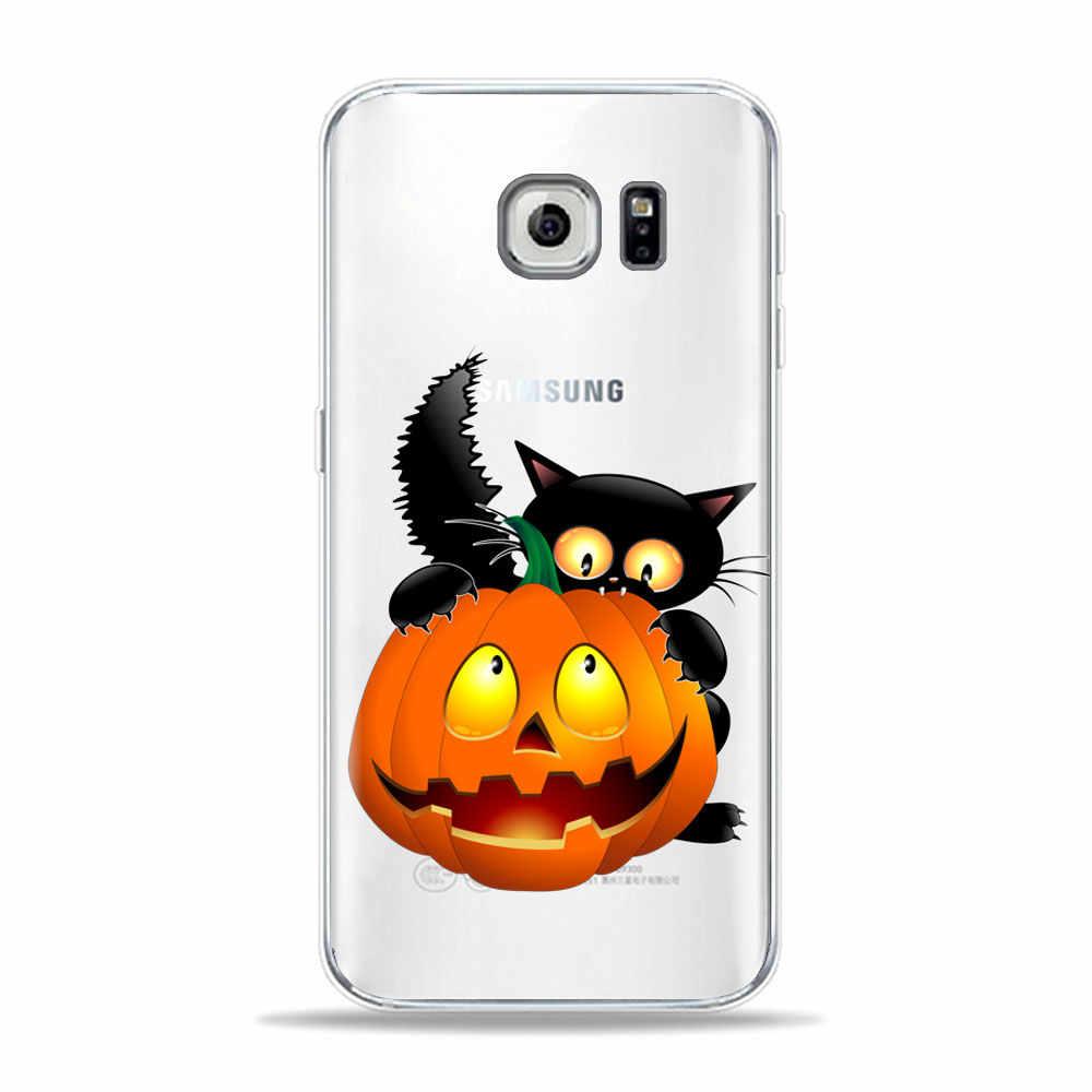 Güz Turuncu Cadılar Bayramı Siyah Kedi Mısır telefonu samsung kılıfı A50 A70 A30 S10 S8 S9 Artı S10E A9 A7 2018 Yumuşak TPU Silikon Kapak