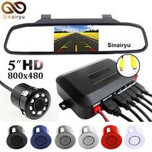 Sinairyu 3IN1 5″ HD Automobile Mirror Monitor + Rear Backup Digicam + Video Parking Radar Sensor System