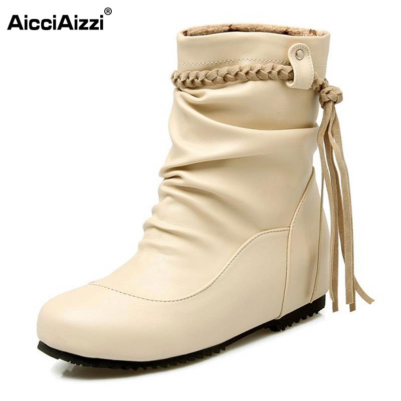 цены Shoes Woman Mid Calf Boots Height Increasing Ladies Shoes Botas Feminina Fashion Tassels Women Boots Zapatos Mujer Size 30-52