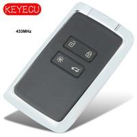 Keyecu keyless go smart remoto chave fob 433mhz para renault espace 5  megane 4  talismã 2016-2019 p/n: 285977147r