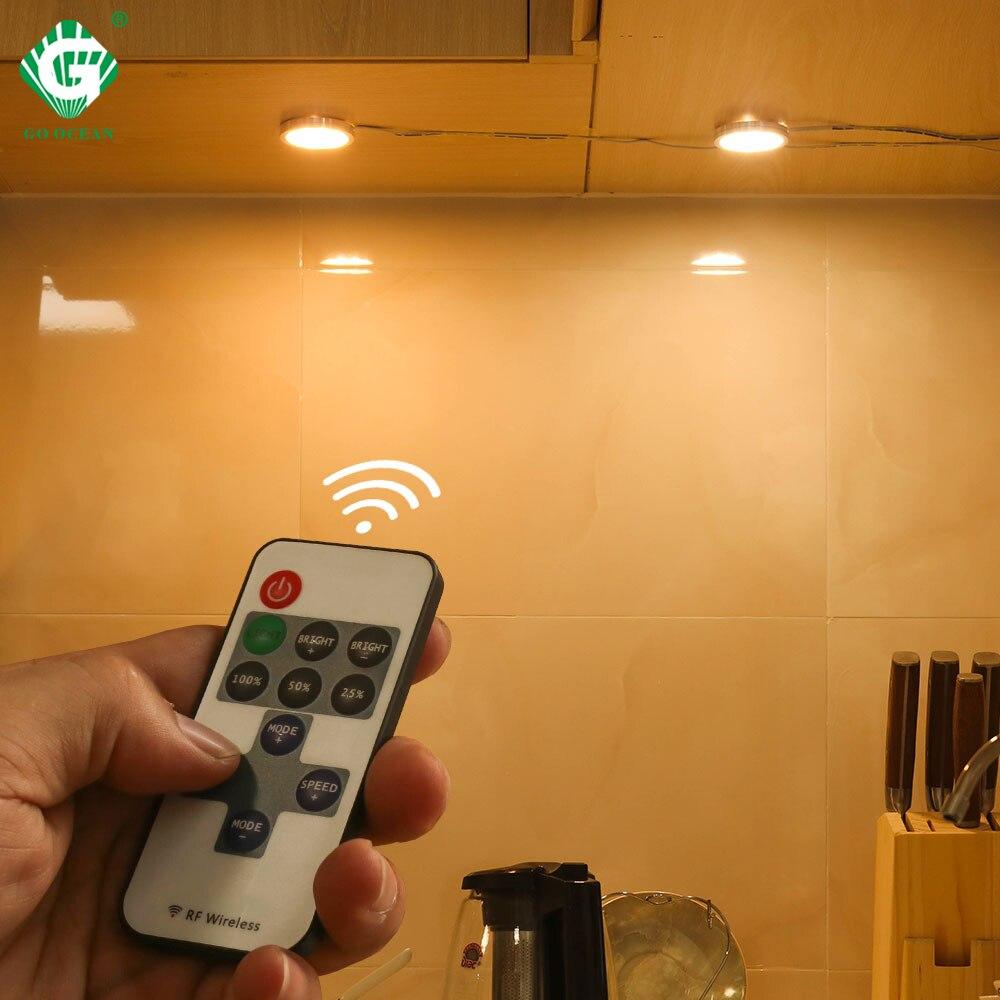 New Brightness Adjust Under Cabinet Light Lamp 2.5W 12V DC Remote Control Switch Puck Lights Bar Cupboard LED Night Lighting