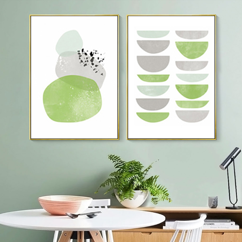Abstract Green Canvas Paintings Geometric Poster Print Nordic Minimalist Wall Art Pictures for Living Room Home Office Decor in Painting Calligraphy from Home Garden
