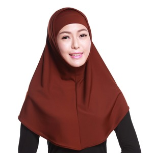 Image 5 - Women Muslim Sacrf Solid 2 Pieces Set Outer Scarf and Inner Cap Hijabs Muslim Islamic Scarf Scarves Solid Hijab Caps