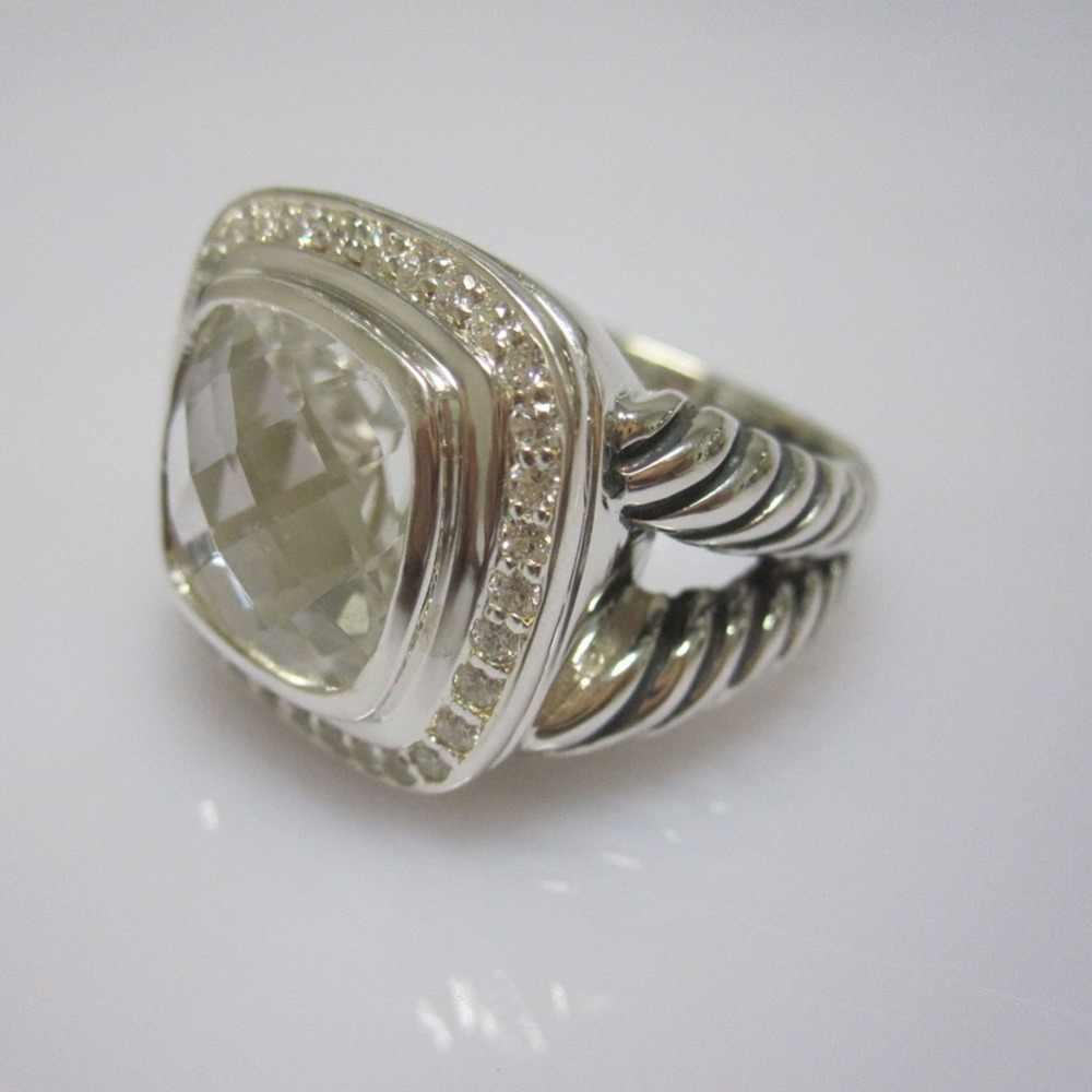 เงินสเตอร์ลิงเครื่องประดับ 17 มม. แหวนนิลสีดำ Amethyst Blue Topaz Prasiolite Smoky ควอตซ์ Quartz 925 เงิน Wowen แหวน