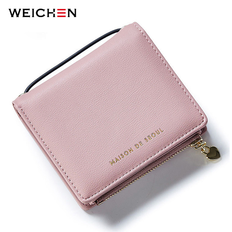 WEICHEN New Design Square Handle Short Clutch Wallets For Women,Heart Pendant Coin Purses Card Holders Lady PU Leather Money Bag hnxzxb tassel pendant design small clutch wallets for women coin purses card holders invoice pocket pu leather female lady bag
