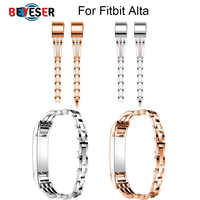 1 Uds brazalete de acero inoxidable pulsera ajustable correa de reloj de pulsera para Fitbit Alta HR reloj inteligente de Alta calidad