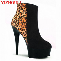 15cm Fashion Platform Leopard Boots Winter Autumn High Heels Sexy Women Ankle Boots Classic Party Short