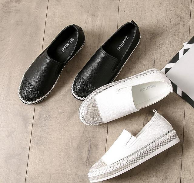 European Famous Brand Patchwork Espadrilles Shoes Woman Genuine Leather Creepers Flats Ladies Loafers White Leather Moccasins 5