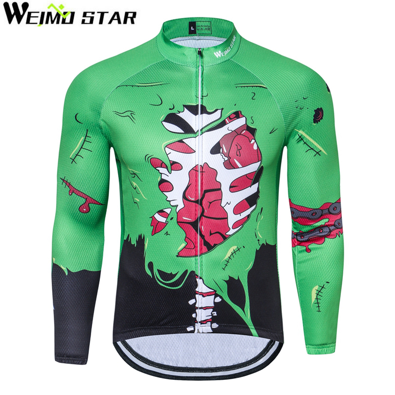 WEIMOSTAR Mens Maillot Cycling Jersey Long Sleeve Polyester Riding Ropa Ciclismo Bicycle Cycling Clothing Quick Dry Bike Wear