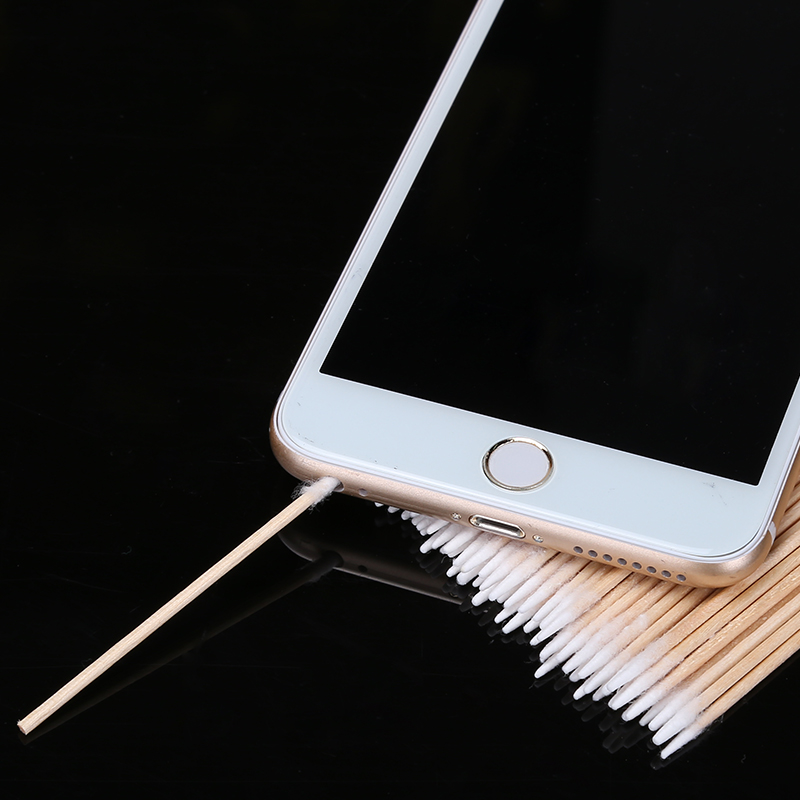 100pcs/lot Charge Port Earphone Hole Cleaning Cotton Swab Stick Phone Repair Tools for iPhone Samsung Sony Huawei image