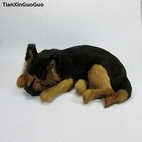 simulation wolfhound dog hard model,polyethylene&furs black sleeping dog large 36x25x14cm handicraft ,home decoration gift s0707