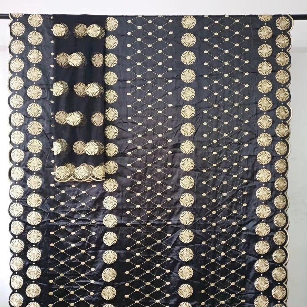 Acheter Africain gele headtie soie mousseline de soie tissu jacquard brocade tissu nigérian dentelle tissu avec perles pour robe 5 + 2 cour/lot HLB 89 de Dentelle fiable fournisseurs