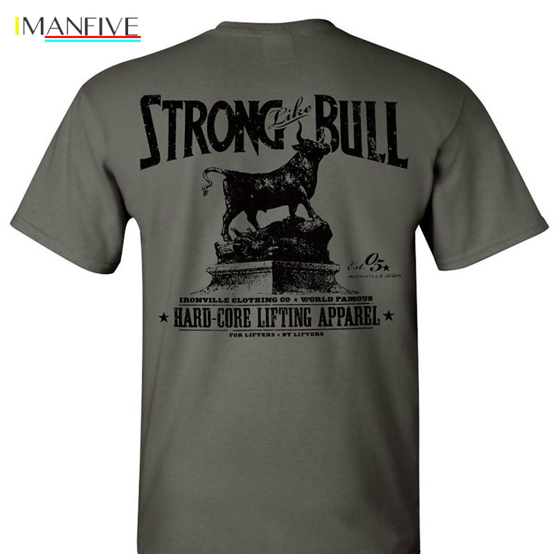 Ironville Strong Like Bull Powerlifting T Shirt 100% Cotton Shirts Brand Clothing Tops Tees  Streetwear funny t shirts men