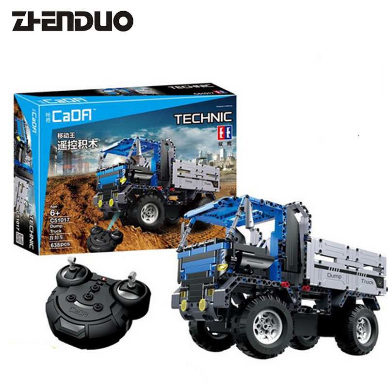ZhenDuo Toys C51017 Technic Series RC Remote Control Dump Truck Assembling Building Blocks Toy kingtoy detachable remote control big size multifuncional rc farm trailer tractor truck toy