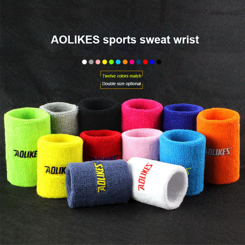 AOLIKES 1 PCS Tennis Bandeau Sports de Plein Air Coton Absorb Sweat Tennis Poignet Essuyez La Transpiration Sweat Serviette Sport Poignet 12 Couleurs
