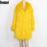 Nerazzurri Jacket Women's winter Coat Faux Fur Women Long Sleeve Yellow Elegant Fluffy Shaggy Fake Fur Coats Female outerwear