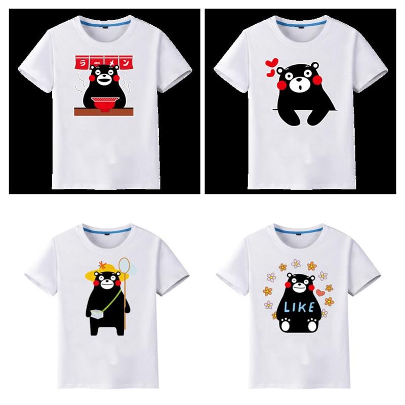 Kawaii Kumamon Print Women Crop Top Sweet Short Sleeve O Neck T Shirt Lovely Black Bear Tops  Anime Kumamoto Bear Mascot T-shirt