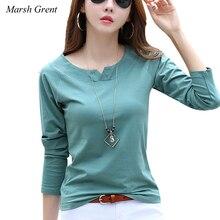 купить Cotton Long Sleeve Women T shirt Korean Style V Neck Pure Color Basic Female Tops tees дешево