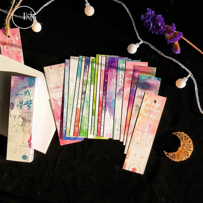 30pcs/pack Kawaii Hand-painted Fresh Flower Illustration Shaped Bookmark Paper Cartoon Gift Stationery Bookmark Stationery