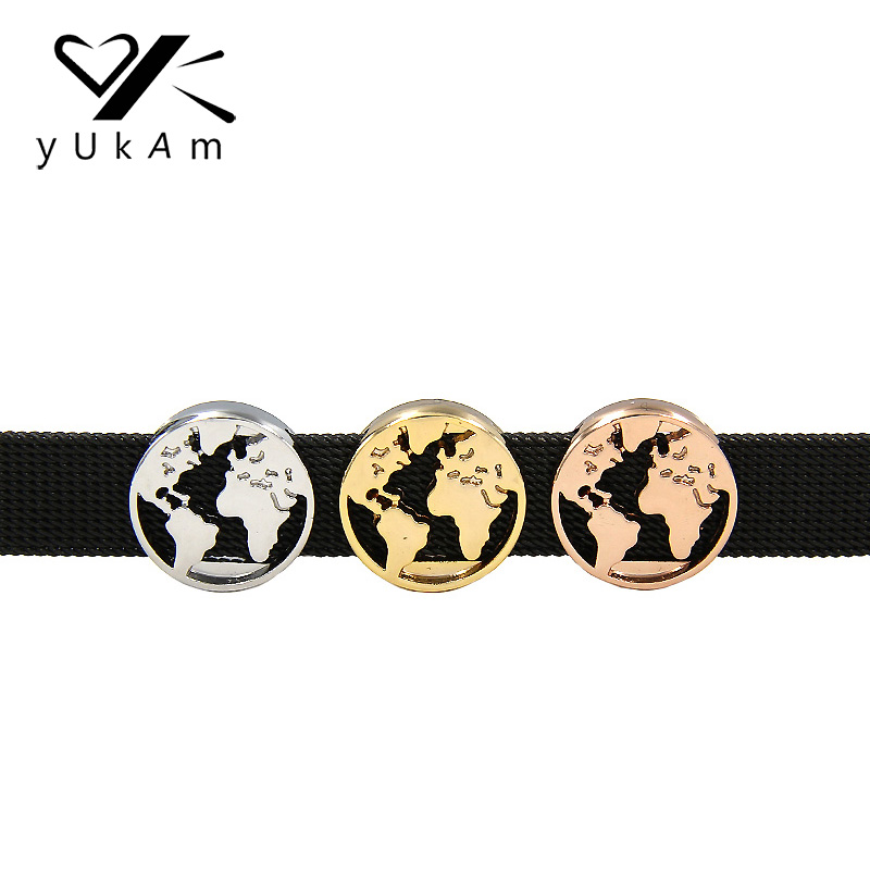 YUKAM Sliders Spacers Silver Earth Globe Travel World Map Slide Charms Keeper for Mesh Bracelets DIY Jewelry Accessories Making