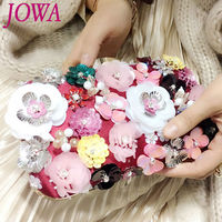 2017 New Women's Evening Bags Flower Handbag Crystal Wedding Package Small Bag Ladies Sweet Handbags Wine Red Clutch With Chain