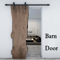 Sliding Barn Door Hardware Kit Top Mounted Hanger Track Black Steel Closet Door Roller Rail for Single Door