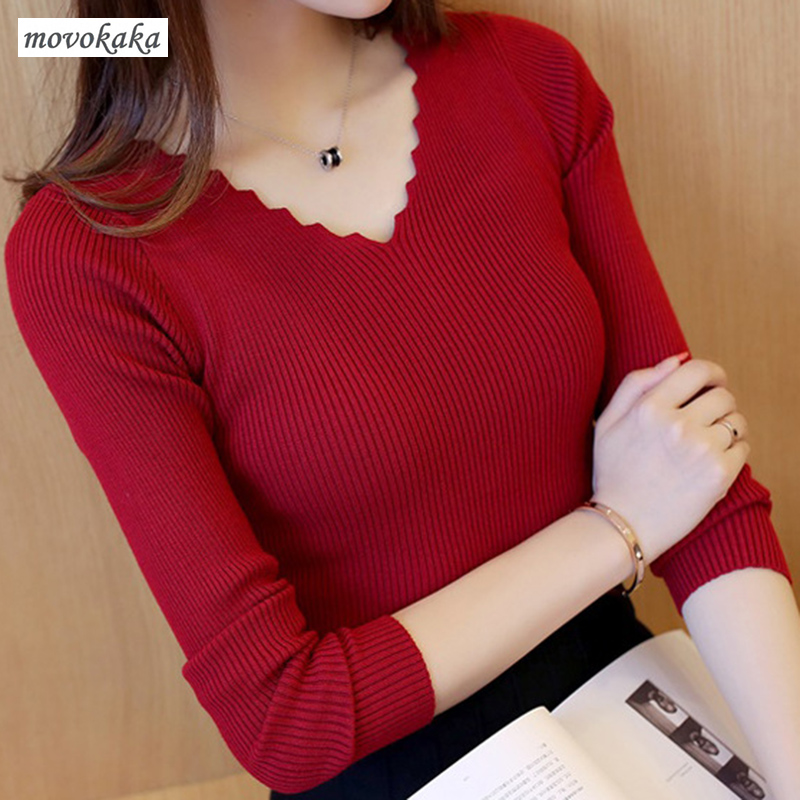 MOVOKAKA Sweaters Female Autumn Winter Sweater Women V Neck Pullover Knitted Stripes Brown Sweater Women Fashion Pullover Womens