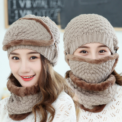 fa7d5d5e2 2017 New Neck warmer ski cap and scarf cold warm fur lining winter hat for  women men Knitted thick velvet Beanies hat Bonnet
