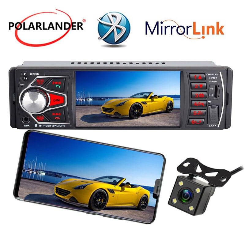 4.1 Pouces lumière colorée HD audio pour voiture Radio lien miroir radio cassette lecteur Bluetooth 4.0 FM TF USB SD 1 DIN MP5 Autoradio