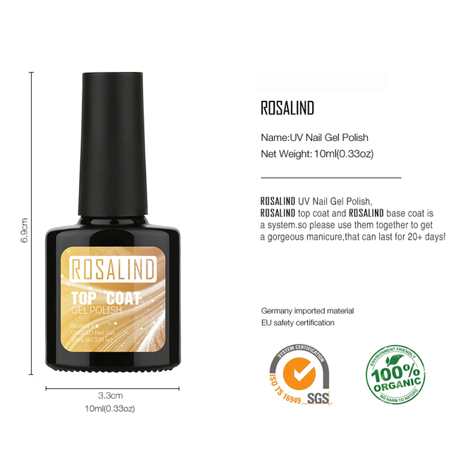 ROSALIND 10ML Top Coat Base Coat Gel Nail Polish Nail Art Gel polish Nail Gel UV LED Soak-Off multi-use top base