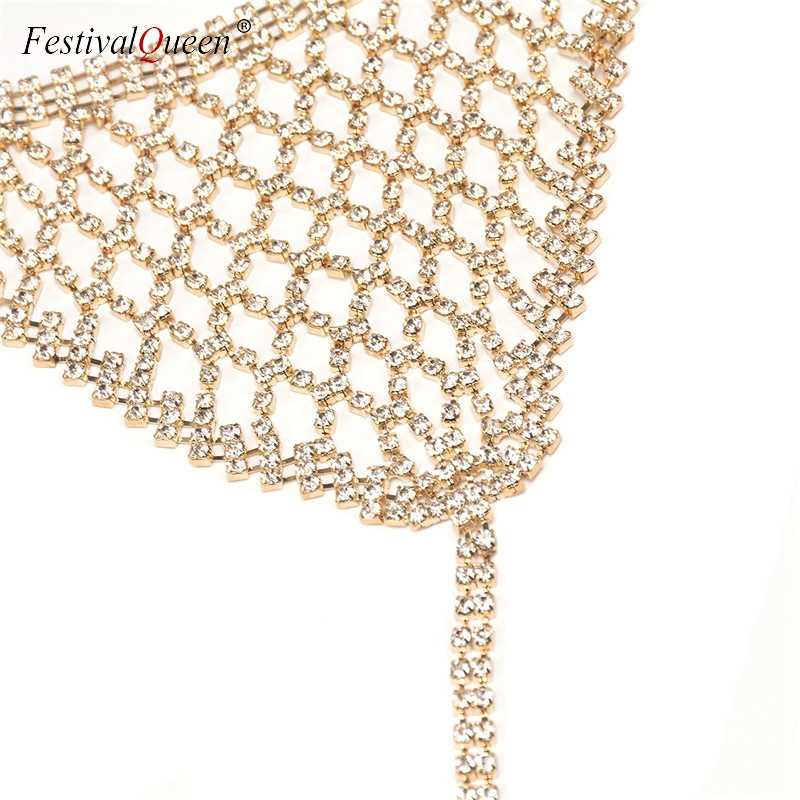 2e5b98e180 ... FestivalQueen luxury hollow out diamond bra set women sexy halter chain  transparent wire free unlined underwear