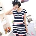 Беременным кормление грудью беременна уход платье одежда беременность женщины синий с коротким рукавом полоса длиной до колен одежда