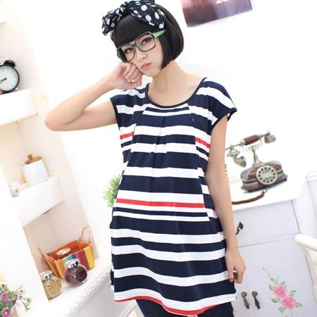 Maternity Breast Feeding Dresses Pregnant Nursing Dress Clothes Pregnancy Women Blue Short Sleeve Stripe Knee Length Clothing