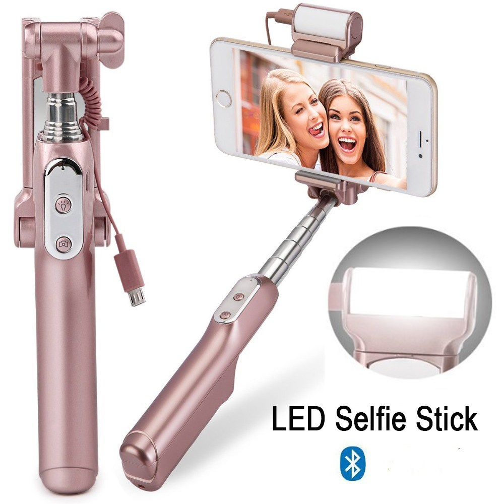 Bluetooth Selfie Stick Handheld Camera Foldable Mini Monopod with Rear Mirror/LED Selfie Fill Light Handle Mini Self Pole Tripod