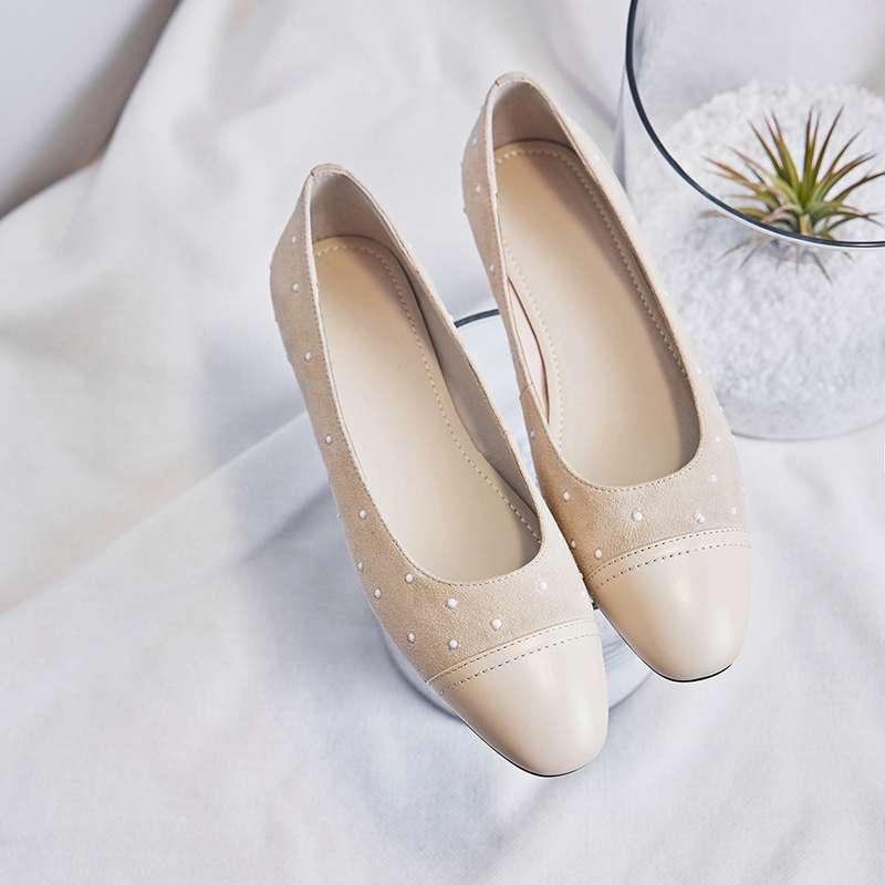 Dedo Cuero Polka Cómodas Poco Del Con De Pisos Pie Slip Dot Cuadrado En Completo Ballet 2019 Conducción Negro L03 Grano Zapatos Planos apricot q8SEawAAn