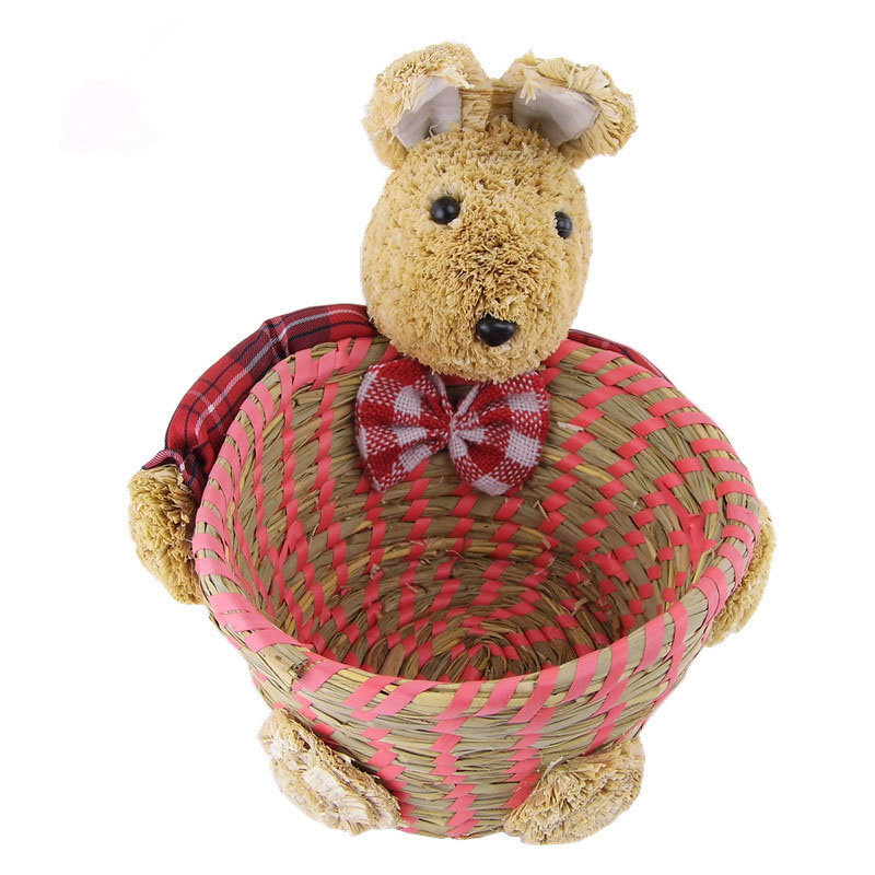 Lovely Cartoon Rabbit Handmade Straw Braid jewelry Storage Basket Desktop Debris Storage Makeup Box Household Eco-friendly Bag