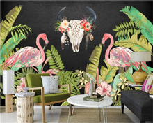 Beibehang 3D Wallpaper Hand painted Flamingos Tropical Rainforest Plant Background Living Room Bedroom TV Background Mural photo