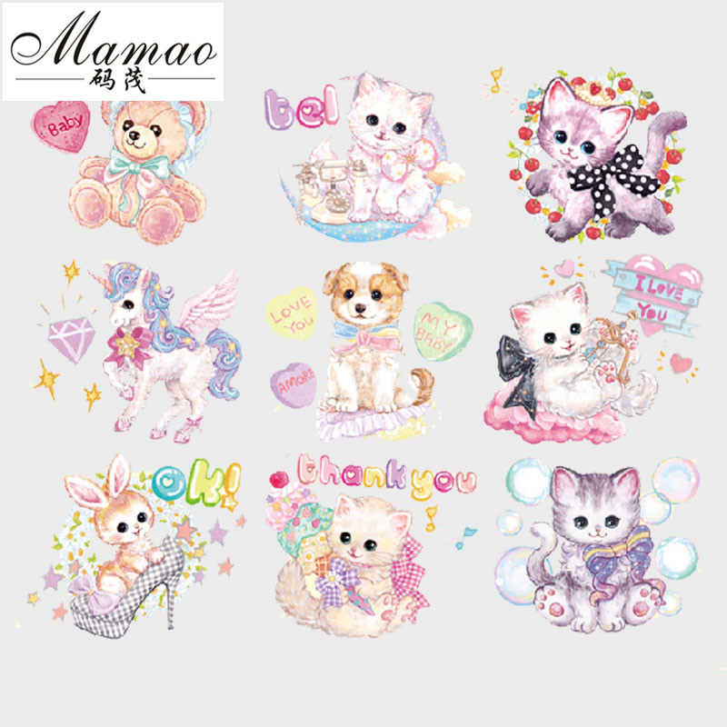 MAMAO Cat Patches Whole Lot Iron On Patches For Clothes Children Christmas Gift T-shirt Dresses Jeans Socks DIY Accessory