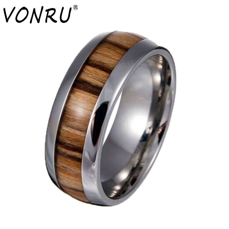 Vintage Wood Grain Design Male Ring Never Fade Stainless